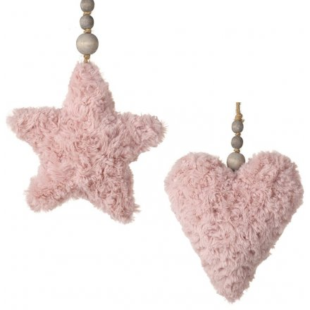 Pretty Fink Hanging Fluffy Heart/Star Decorations