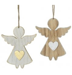 A sweet assortment of hanging wooden angel decorations, perfectly finished with an added gold and silver touch