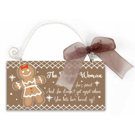 The Perfect Gingerbread Woman Hanging Sign