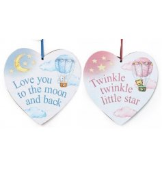 An assortment of 2 Baby Balloon Heart Hanging Plaques
