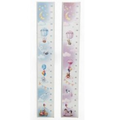 A beautifully charming assortment of standing size charts covered with a sweet baby blue and pretty pink illustrated de