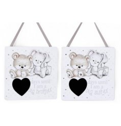Let your little ones count down the days until they become a big brother or sister with these charming hanging plaques