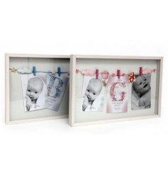 An assortment of 2 Large Baby Balloon Peg Photo Frames