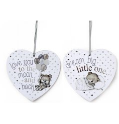 A mix of 2 adorable heart plaques in neutral colours. Each has a popular baby slogan and a bear design.