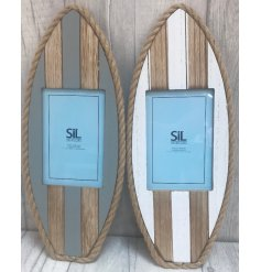 this charming surfboard inspired picture frame will bring in those coastal waves to any home