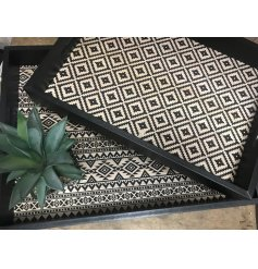 Bring a Pure and Warm sense to any home space or display with this charming set of wooden trays with an Aztec Print