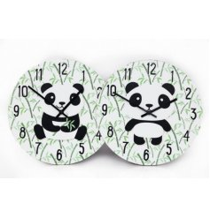 An assortment of 2 bamboo printed wall clocks, sweetly finished with a siting and standing panda design