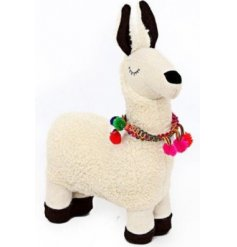 Bring a sassy llama touch to your home decor or display sets up with this adorably fuzzy llama doorstop