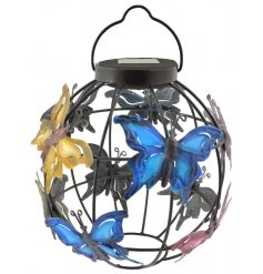 Bring a sweet glow to your garden spaces in the evening time with this beautifully finished round solar powered lantern