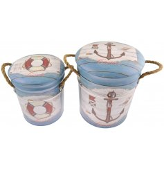 Bring a Beach House inspired touch to your home decor or displays with this charming set of sized metal storage stools