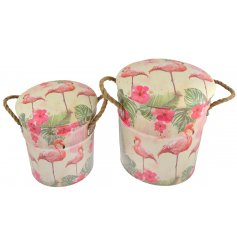 these stylish Flamingo Paradise inspired storage stools will bring in those summer vibes to any home