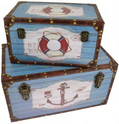 Bring a Beach House inspired touch to your home decor or displays with this charming set of sized storage trunks