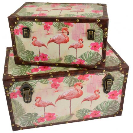 these stylish Flamingo Paradise inspired storage trunks will bring in those summer vibes to any home  sc 1 st  Rosefields & Flamingo Paradise Set of Storage Trunks | 41180 | Interior Decor ...