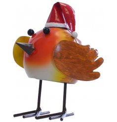 A Wobbly Robin With Santa Hat Garden Decoration