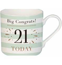A charming mint green toned fine china mug, suitable for any recipient turning 21!