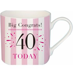 A stylish pink striped fine china mug with an added printed birthday text