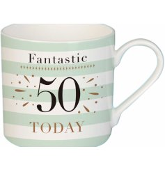 A charming mint green toned fine china mug, suitable for any recipient turning 50!