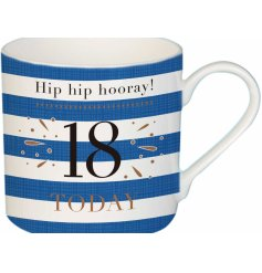A stylish blue striped china mug, perfect for any Birthday Boy on their special day!
