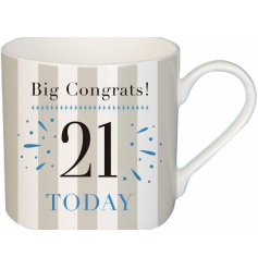 this stylish mug is perfect for anybody celebrating their 21st!