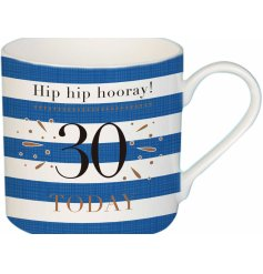 A charming blue toned fine china mug, suitable for any recipient turning 30!
