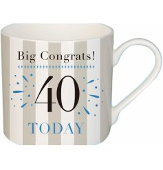 A trendy grey and white striped fine china mug with an added birthday text