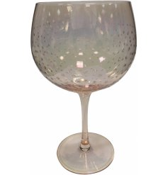 A gorgeous, long stemmed Gin Glass featuring a dewdrop effect decal and a charming rose gold tint