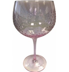 Decorated with a ridged dewdrop effect, this lightly pink tinted Gin Glass will improve any evening G&T for sure