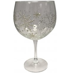 A beautifully decorated Gin Glass with an added smoked grey effect