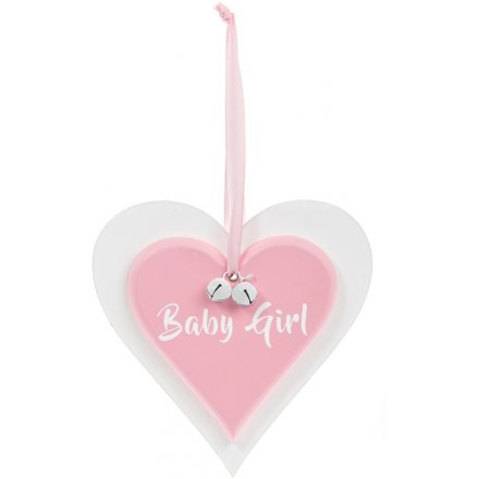 Double Heart Pink Plaque - Baby Girl