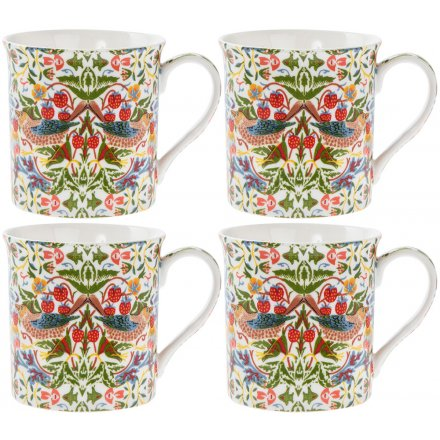 Strawberry Thief China Mugs Set of 4