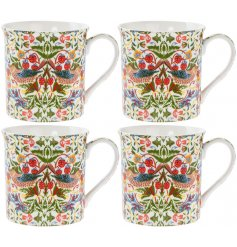 An elegant set of 4 china mugs featuring a colourful bird and botanical print.