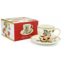 A beautifully decorated Fine China Cup and Saucer, set with a matching giftbox. Perfect for gift giving occasions