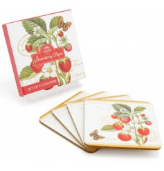 A beautifully vintage inspired set of cork coasters, delicately decorated with a strawberry print