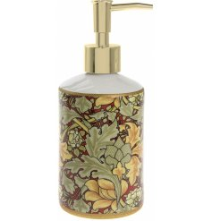 A William Morris Inspired Autumn Floral Design Soap Dispenser