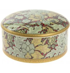A William Morris Inspired Autumn Floral Print Trinket Box