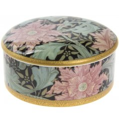 A William Morris Orange Clematis Design Round Trinket Box