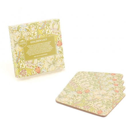 William Morris Golden Lily Coasters, Set Of 4