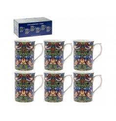 A Set Of 6 Blue Strawberry Thief William Morris inspired Mugs