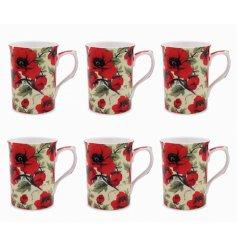 A set of 6 Red Poppy Print China Mugs