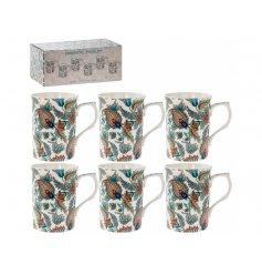 A set of 6 Oriental Paisley Print China Mugs