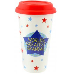 A stylish ceramic mug with a bright blue and red decal