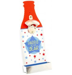 A quirky and colourful wooden bottle opener decoration, perfect for any Daddy of the Year on Fathers Day!