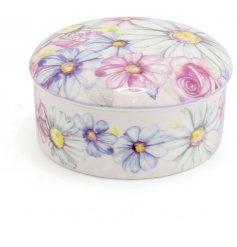 A Pink Daisy Round Trinket Box