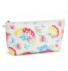 A Hydrangea Print Cosmetic Pouch
