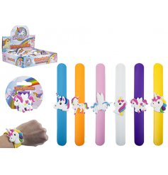 A funky assortment of colourful unicorn themed snap bracelets.