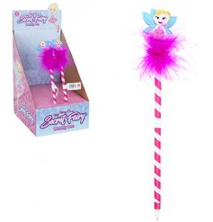 Make notes and reminders in a stylish way with this funky striped pen with an added bobbling Fairy topper
