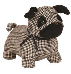 A charming little pug doorstop set with a Burberry Tartan print