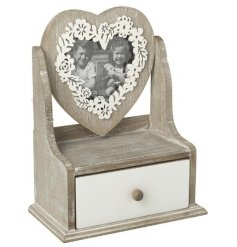 Bring a rustic charm to your vanity stands and chest of draws with this natural wooden trinket box and heart frame