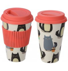 Help save the world one Kitty Cup at a time with this quirky cat printed Biodegradable Bamboo Travel Mug