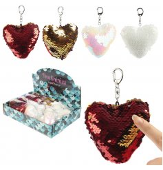 Bring a sparkling touch to your keysets and handbags with these trendy sequin covered heart keyrings